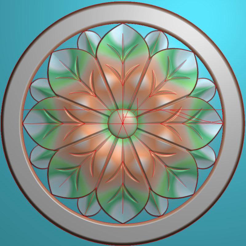 欧式圆花图JDP格式贴花门上花洋花系列罗马柱头贴片YH00100插图