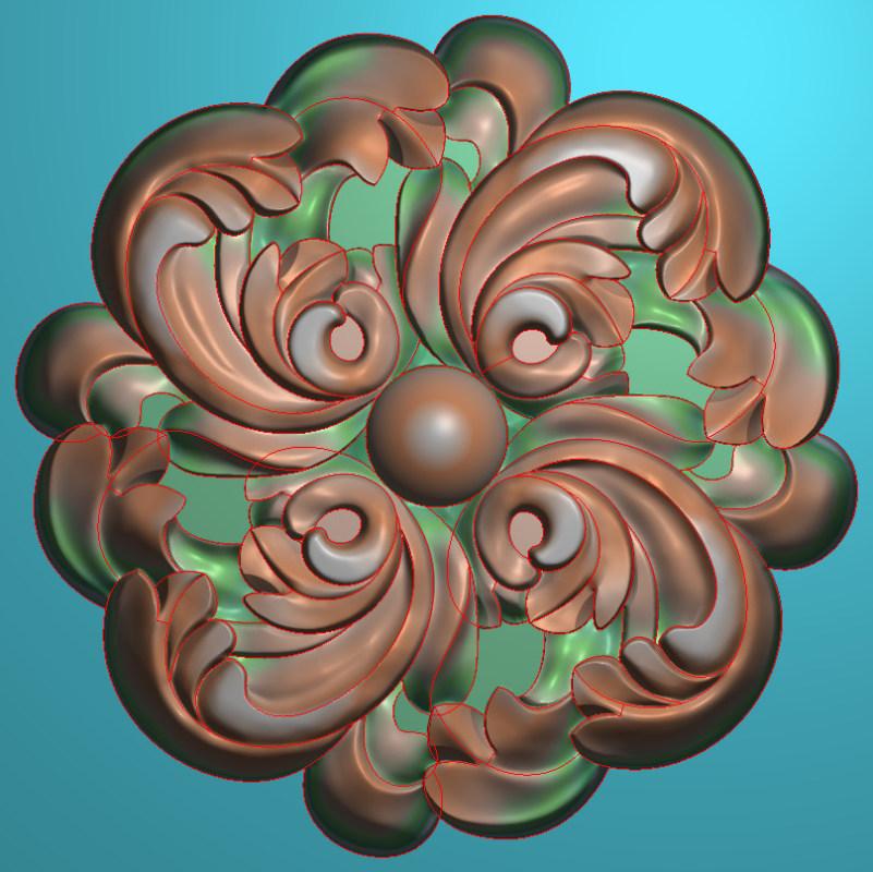欧式圆花图JDP格式贴花门上花洋花系列罗马柱头贴片YH0099插图