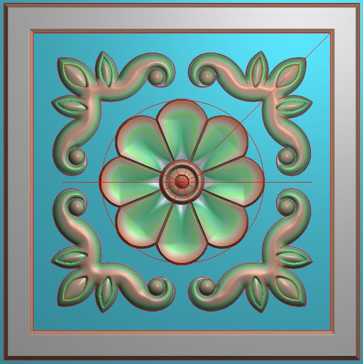 欧式正方图JDP格式贴花方块花洋花系列罗马柱头贴片FH067插图