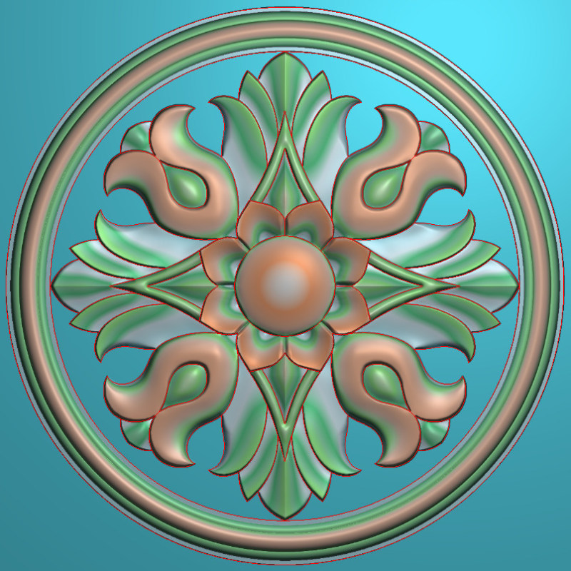 欧式圆花图JDP格式贴花门上花洋花系列罗马柱头贴片YH0096插图