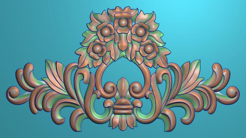 欧式三角花图JDP格式横图浮雕外墙装饰花洋花系列柜门花SH062插图