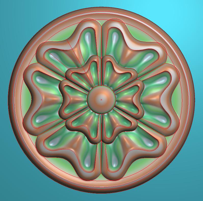 欧式圆花图JDP格式贴花门上花洋花系列罗马柱头贴片YH0091插图