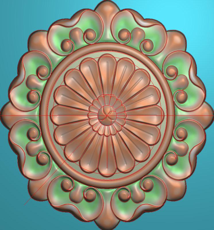 欧式圆花图JDP格式贴花门上花洋花系列罗马柱头贴片YH0011插图