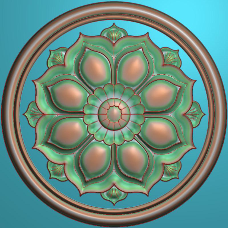 欧式圆花图JDP格式贴花门上花洋花系列罗马柱头贴片YH0039插图