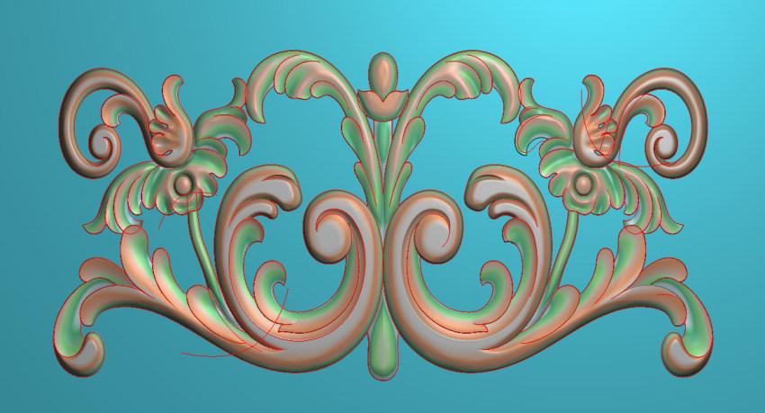 欧式三角花图JDP格式横图浮雕外墙装饰花洋花系列柜门花SH075插图