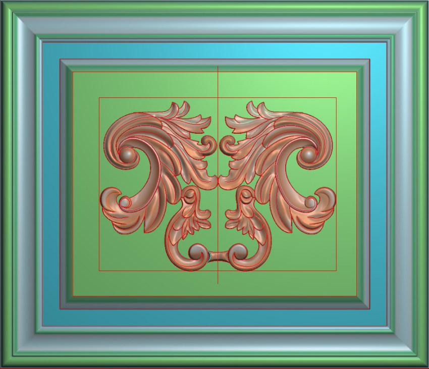 欧式横图JDP格式洋花贴花边框系列罗马柱头贴片FH012插图