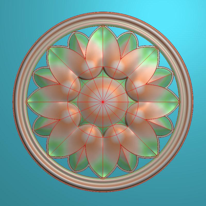 欧式圆花图JDP格式贴花门上花洋花系列罗马柱头贴片YH0060插图