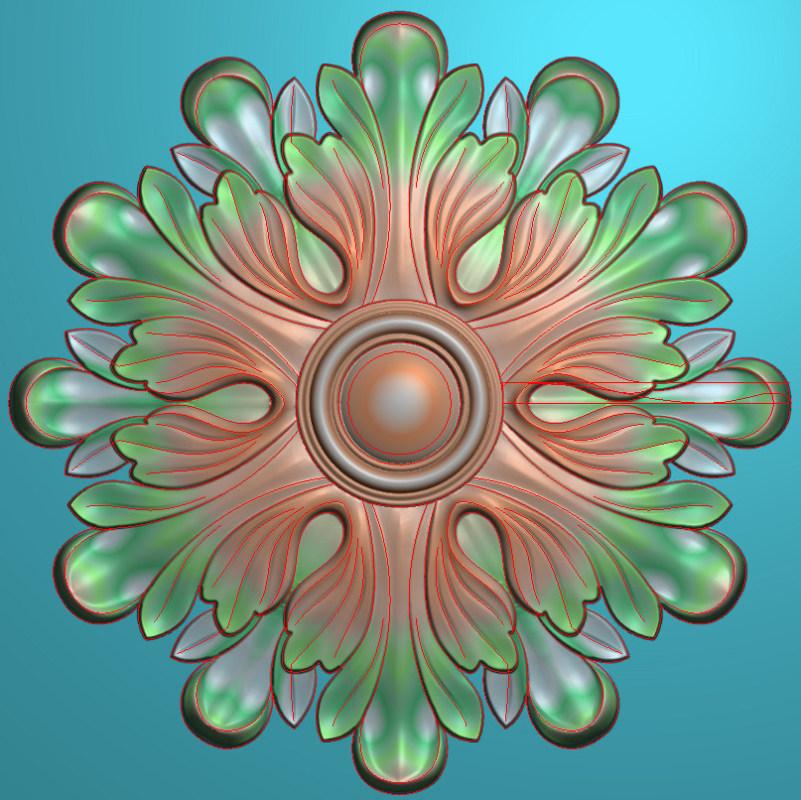 欧式圆花图JDP格式贴花门上花洋花系列罗马柱头贴片YH0010插图