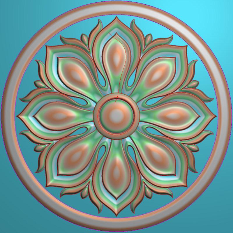 欧式圆花图JDP格式贴花门上花洋花系列罗马柱头贴片YH0018插图