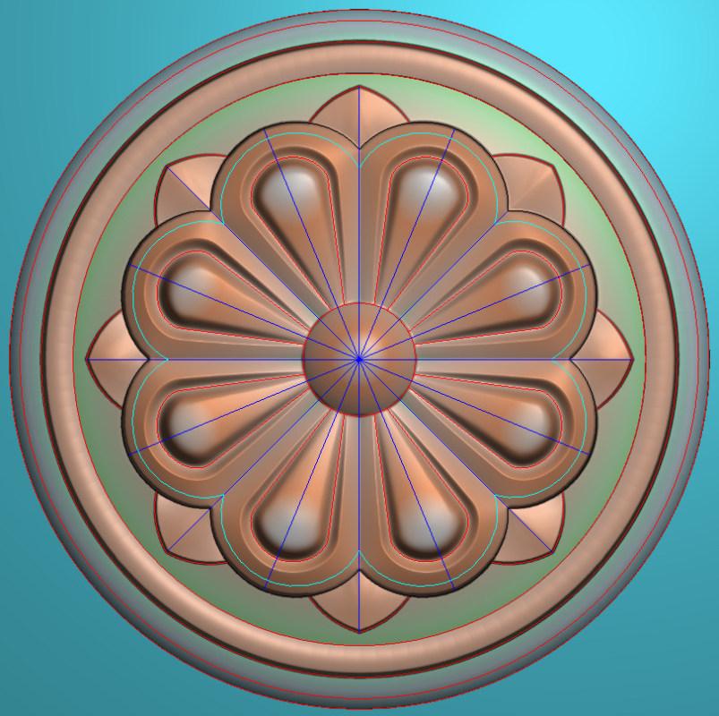 欧式圆花图JDP格式贴花门上花洋花系列罗马柱头贴片YH0049插图