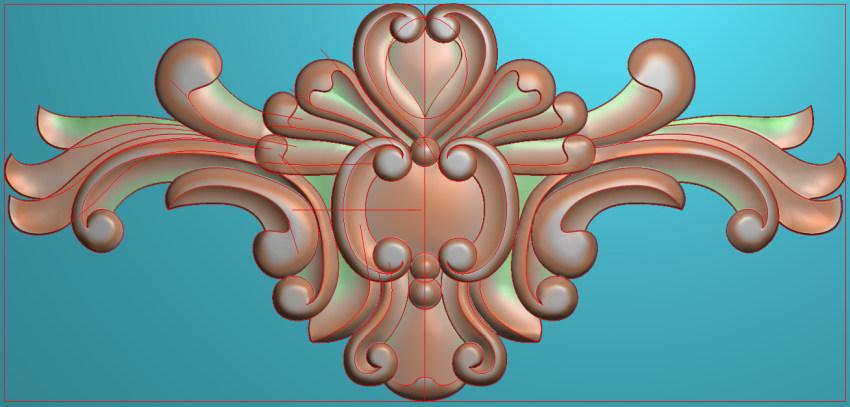 欧式三角花图JDP格式横图浮雕外墙装饰花洋花系列柜门花SH043插图