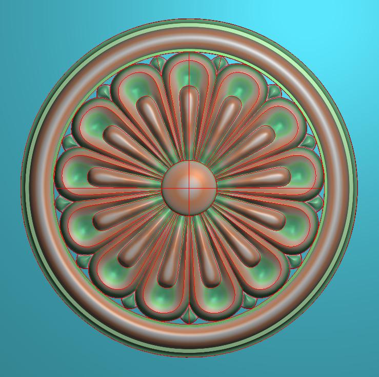 欧式圆花图JDP格式贴花门上花洋花系列罗马柱头贴片YH0073插图