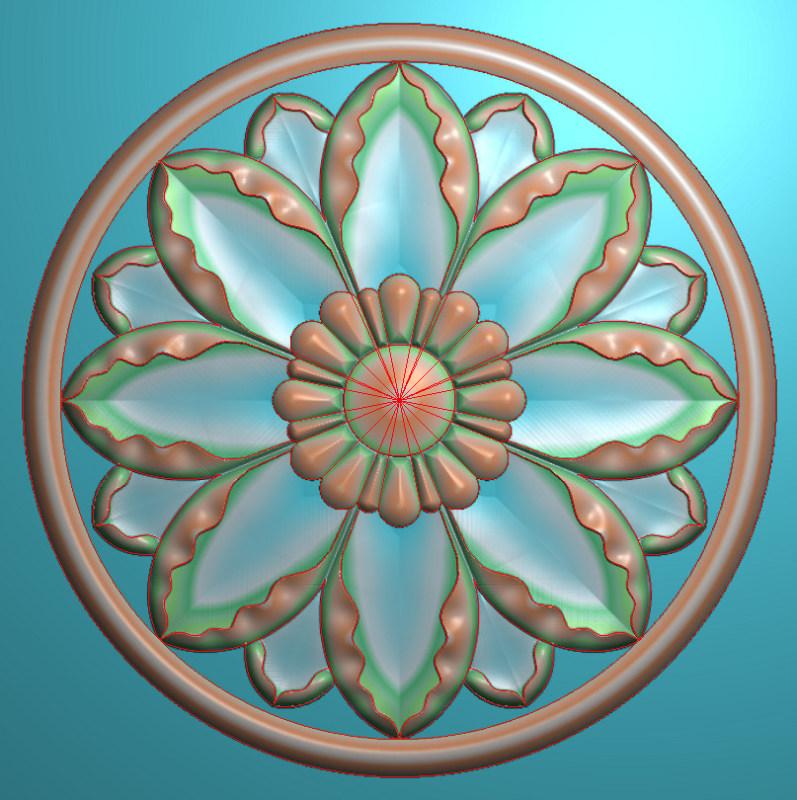 欧式圆花图JDP格式贴花门上花洋花系列罗马柱头贴片YH0030插图
