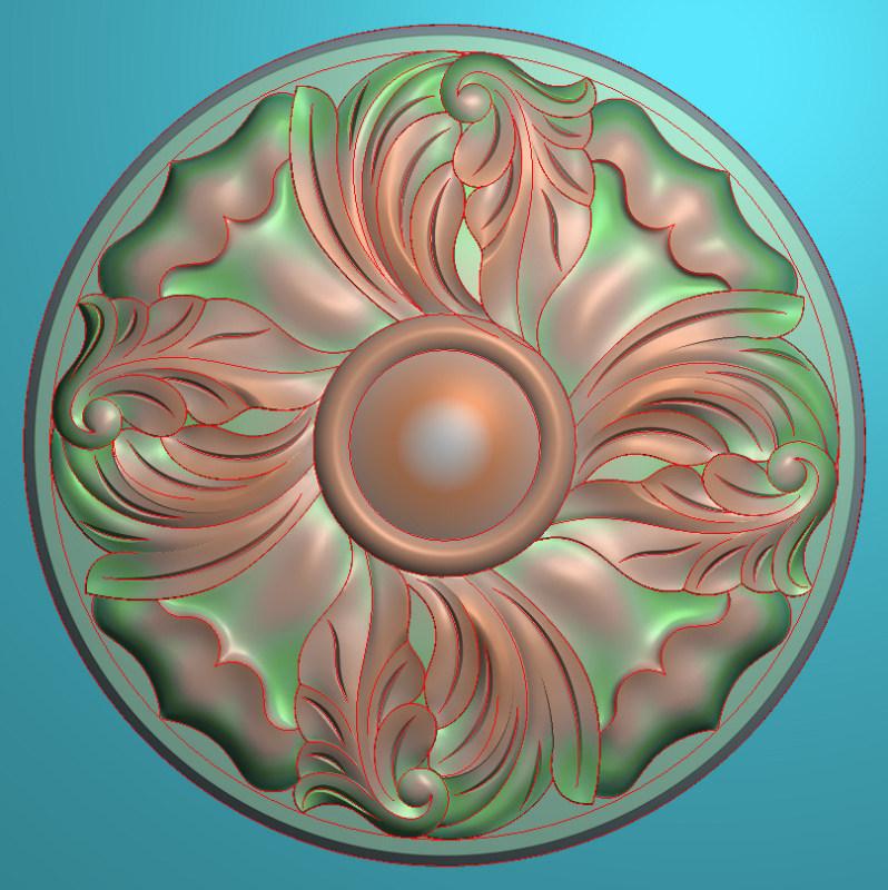 欧式圆花图JDP格式贴花门上花洋花系列罗马柱头贴片YH0084插图