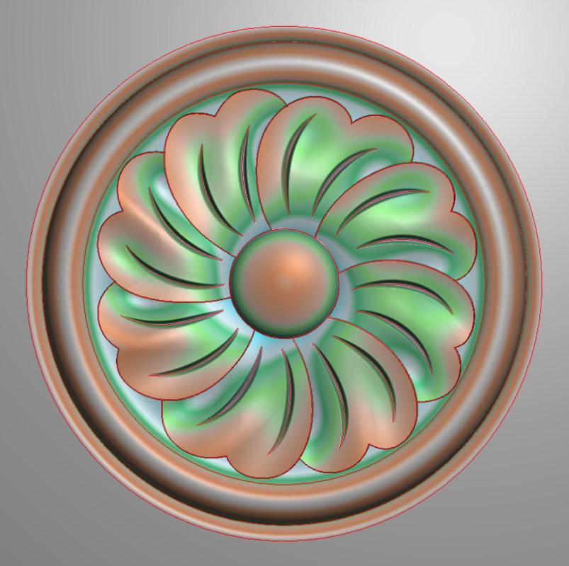 欧式圆花图JDP格式贴花门上花洋花系列罗马柱头贴片YH0063插图
