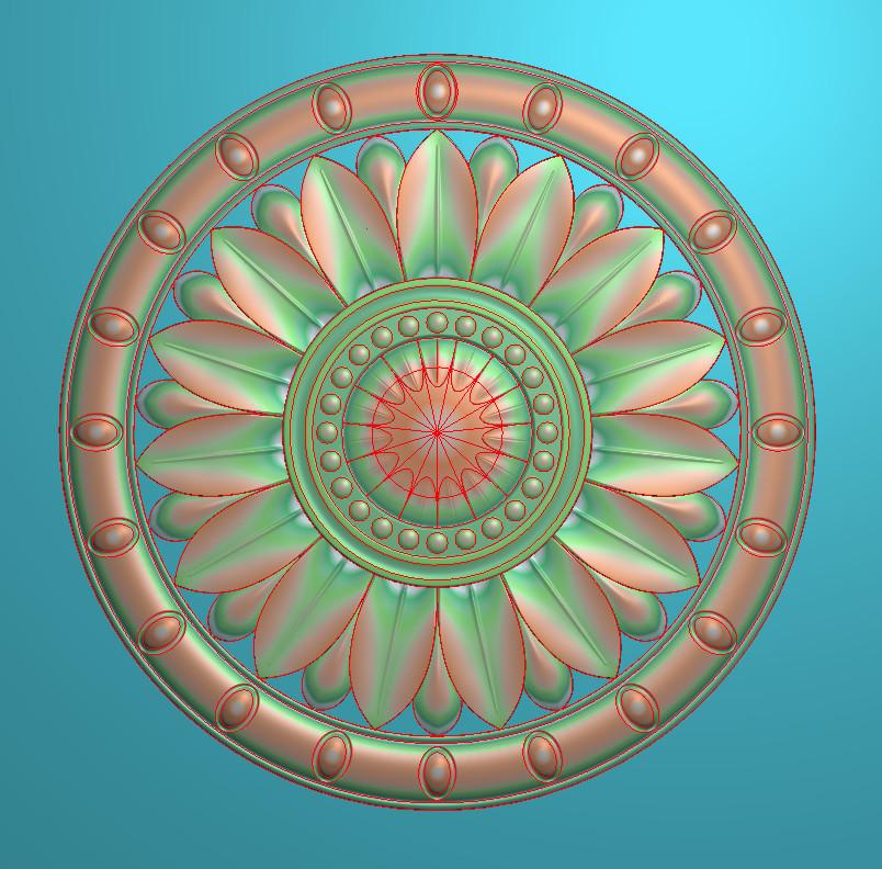 欧式圆花图JDP格式贴花门上花洋花系列罗马柱头贴片YH0094插图