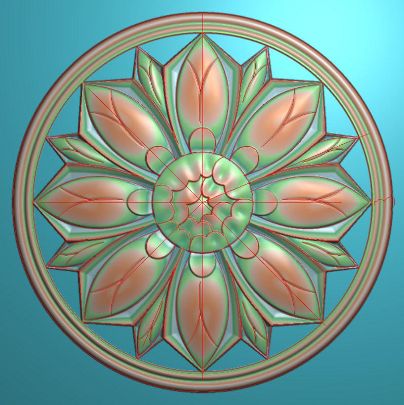 欧式圆花图JDP格式贴花门上花洋花系列罗马柱头贴片YH0012插图