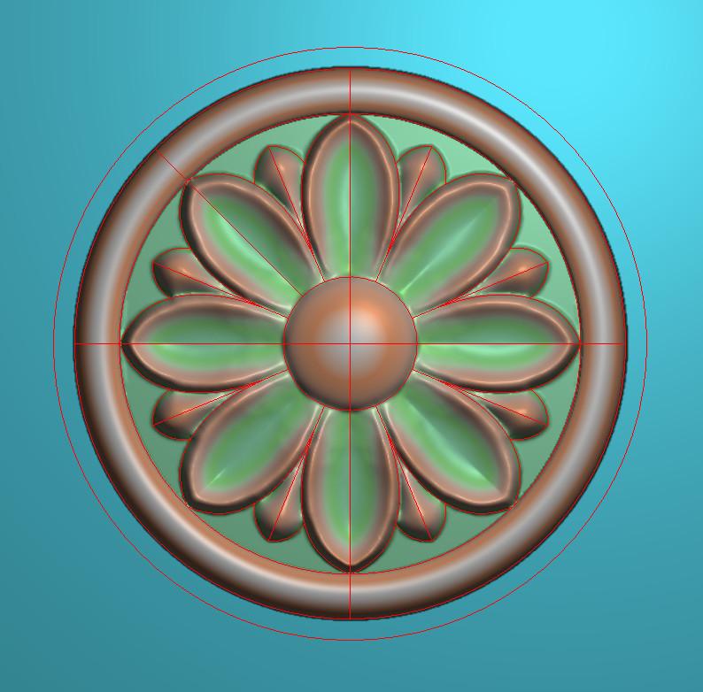 欧式圆花图JDP格式贴花门上花洋花系列罗马柱头贴片YH0085插图