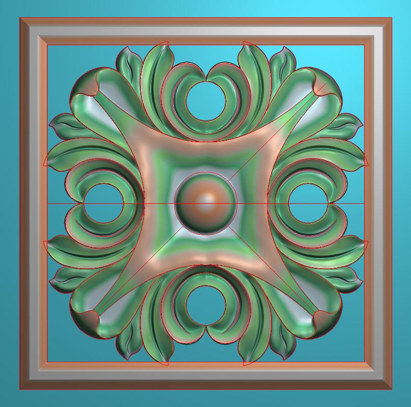 欧式正方图JDP格式贴花方块花洋花系列罗马柱头贴片FH033插图