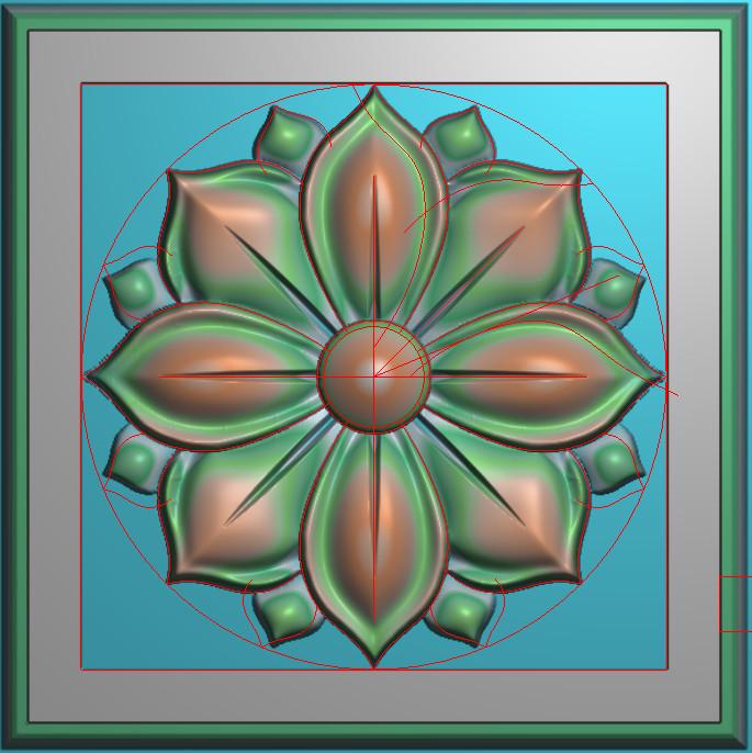 欧式正方图JDP格式贴花方块花洋花系列罗马柱头贴片FH069插图