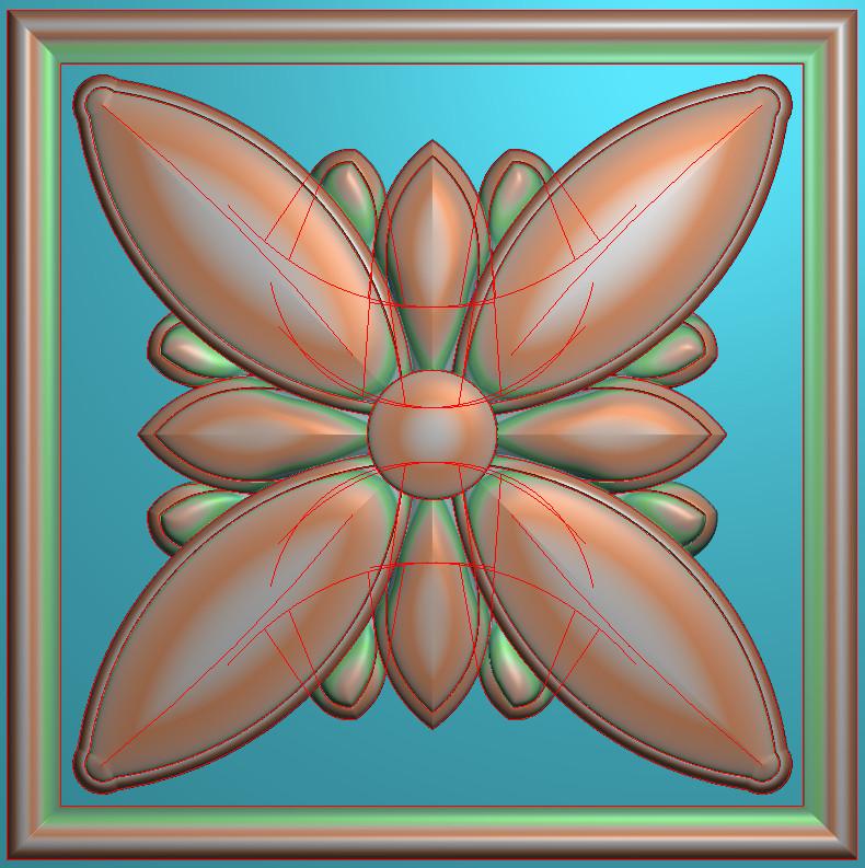 欧式正方图JDP格式贴花方块花洋花系列罗马柱头贴片FH008插图