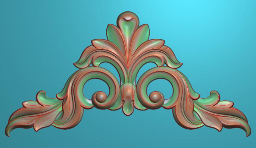 欧式三角花图JDP格式横图浮雕外墙装饰花洋花系列柜门花SH008插图