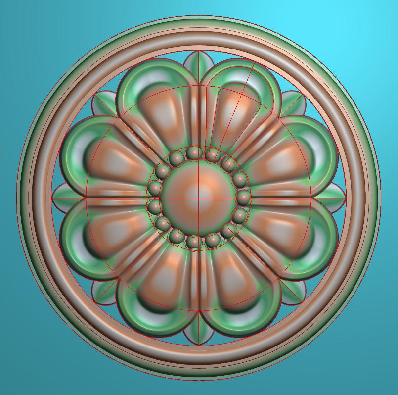 欧式圆花图JDP格式贴花门上花洋花系列罗马柱头贴片YH0079插图