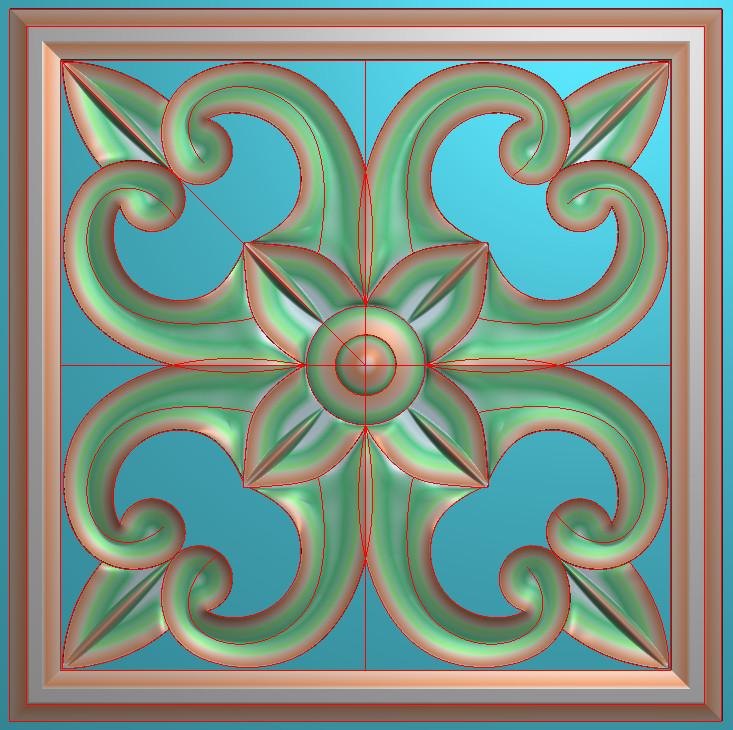 欧式正方图JDP格式贴花方块花洋花系列罗马柱头贴片FH064插图