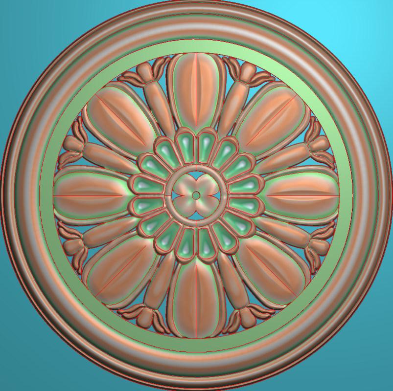 欧式圆花图JDP格式贴花门上花洋花系列罗马柱头贴片YH0034插图