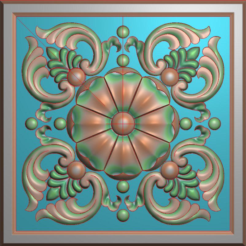 欧式正方图JDP格式贴花方块花洋花系列罗马柱头贴片FH0117插图