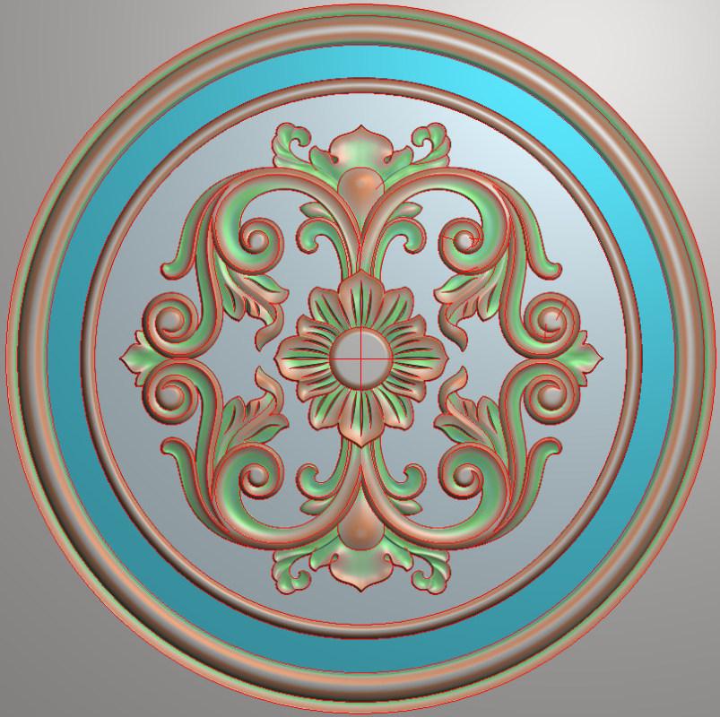 欧式圆花图JDP格式贴花门上花洋花系列罗马柱头贴片YH0077插图